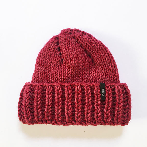 Knitted Wool Hat | Teardrop | Raspberry