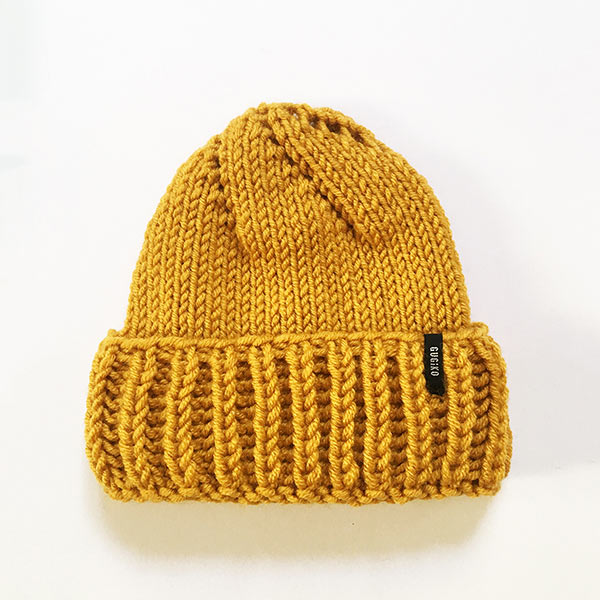 Knitted Wool Hat | Teardrop | Yellow