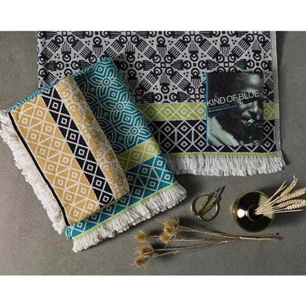 fowohodie patterned woven 3RD Culture black and blue throw