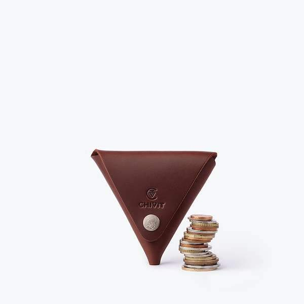 red brown colour leather coin case