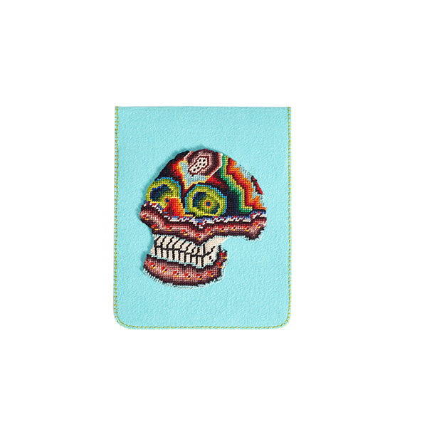 Felt turquoise tablet case with skull embroidery