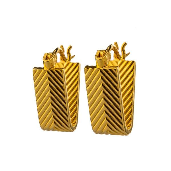 Gold plated bronze v earrings
