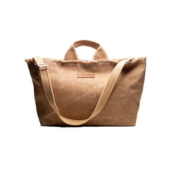 Beige waxed canvas large shopping bag
