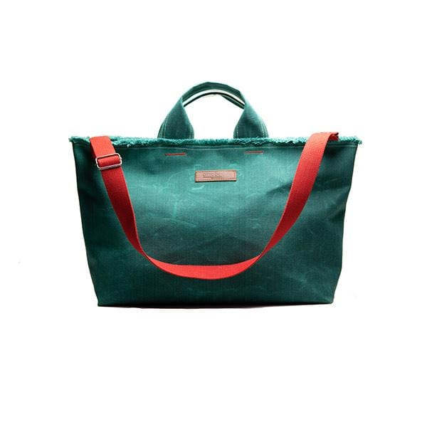 Green waxed canvas large shopping bag with red strap