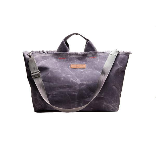 Grey waxed canvas large shopping bag