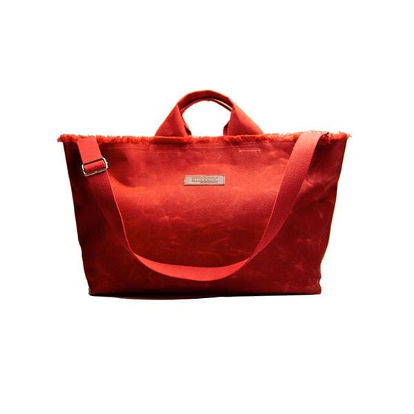 Red waxed canvas large shopping bag