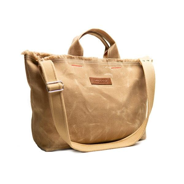 Beige waxed canvas medium shopping bag