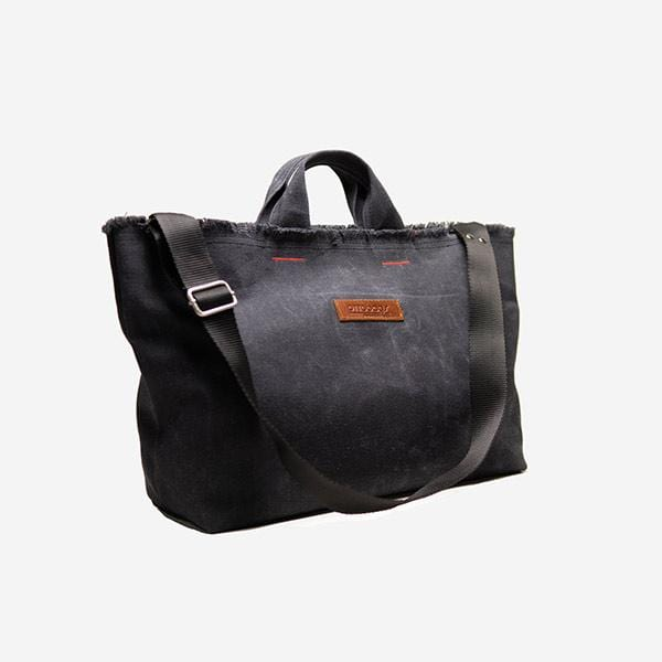 Black waxed canvas medium shopping bag