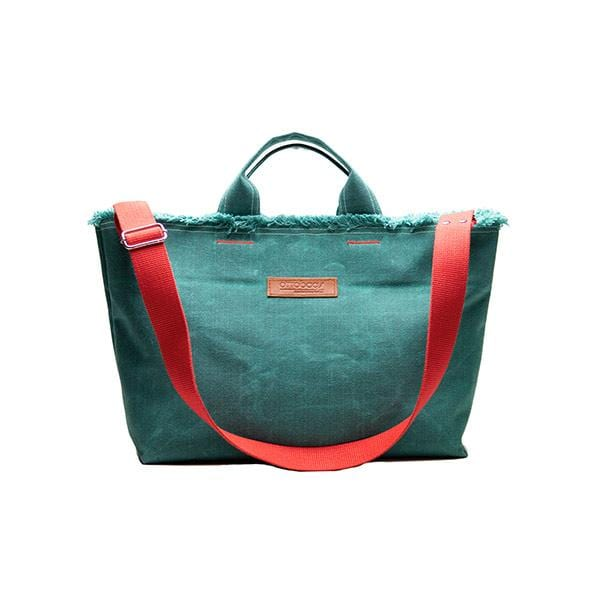 Green waxed canvas medium shopping bag with red strap