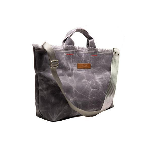 Grey waxed canvas medium shopping bag