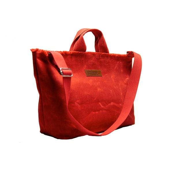 Red waxed canvas medium shopping bag