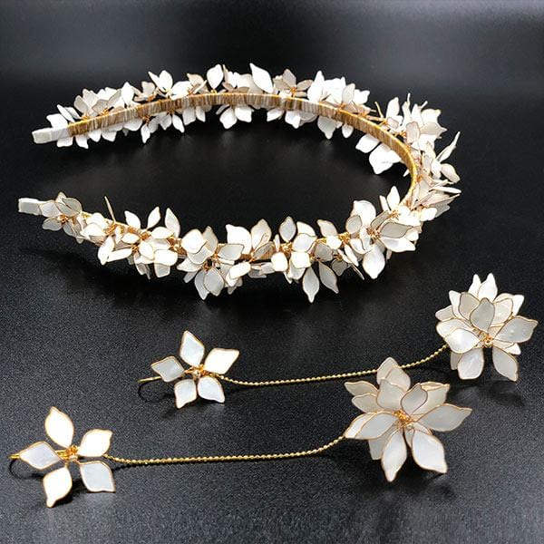 White Mine Tiara & Detachable Earrings