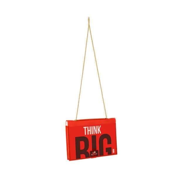 "why note!? fun notebag series neon red wish bag with ""big think"" printed card at hippist.co.uk"