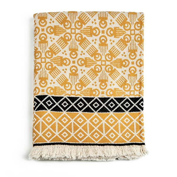 3RD Cutlure wooden comb printed woven yellow blanket