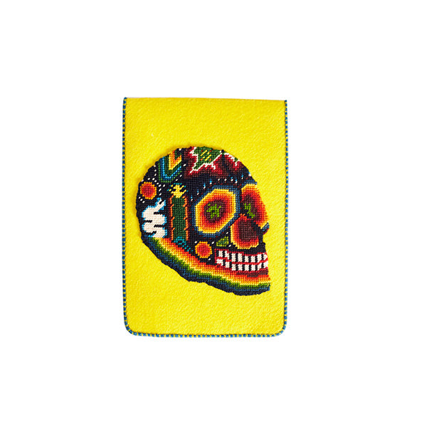Felt yellow tablet case with skull embroidery