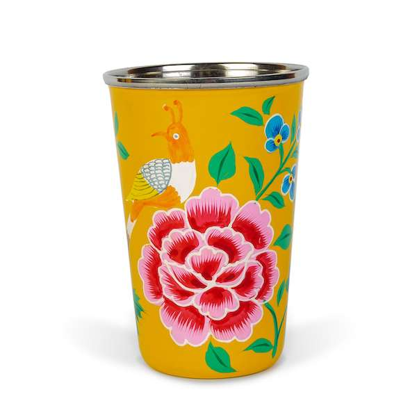 Decorative tableware hand painted yellow enamel tumbler with North Indian motifs - hippist.co.uk
