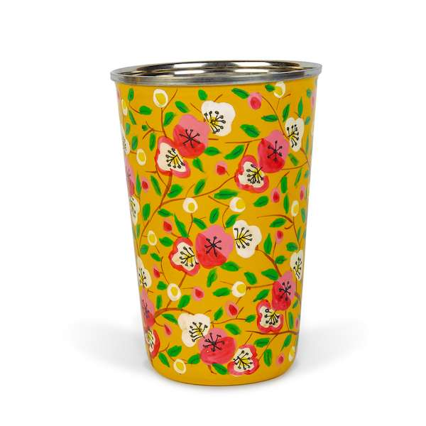 Decorative tableware hand painted yellow enamel tumbler red flowers