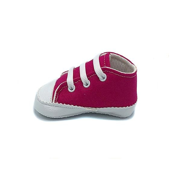 Fuchsia colour handmade stylish cool comfortable baby sneakers between 17 and 19 number