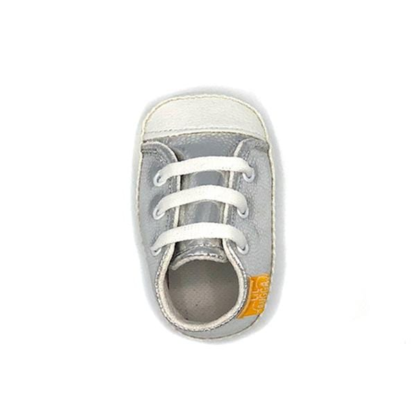 silver colour handmade stylish cool comfortable baby sneakers between 17 and 19 number