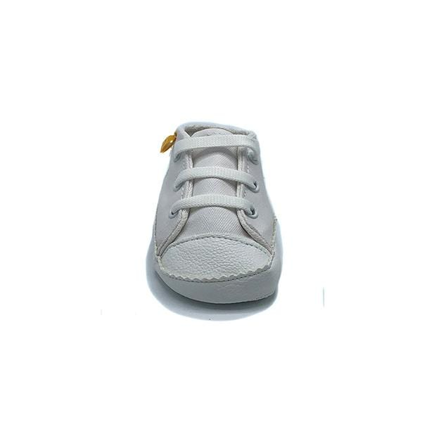 white colour handmade stylish cool comfortable baby sneakers between 17 and 19 number