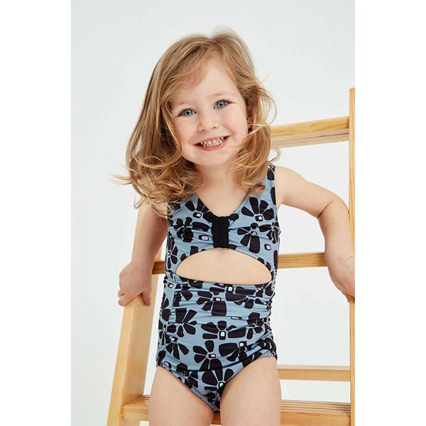 Cut out swimsuit with black abstract flower print