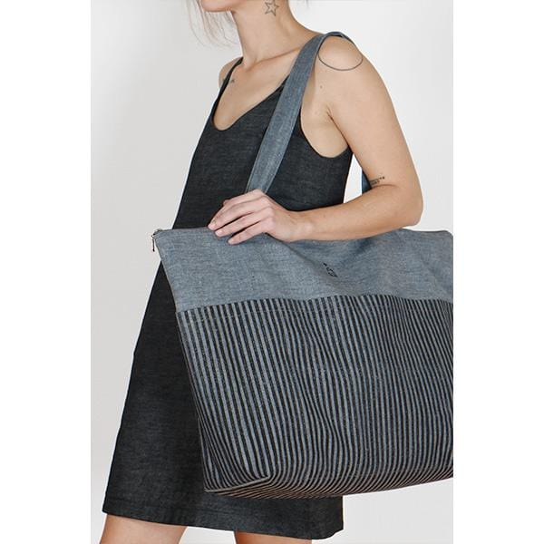 Stripe Big Bag | Woodblock