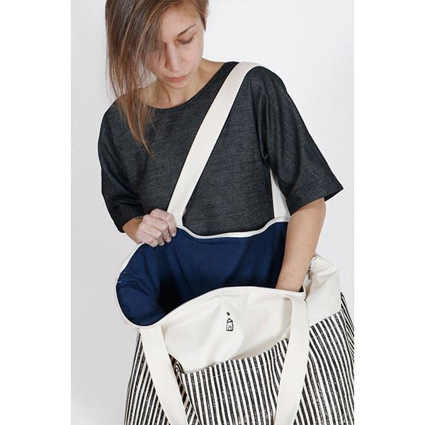 Stripe Big Bag | Woodblock Natural