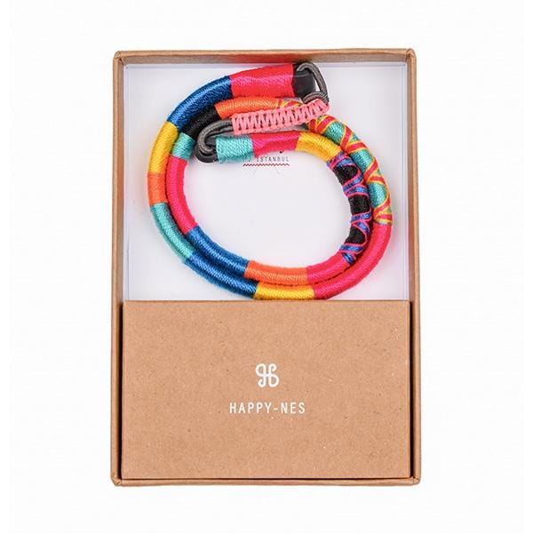 colourful stylish handmade happy-nes branded headband burning man in a box