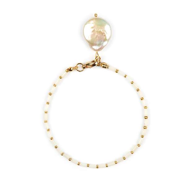 Callie Baroque Pearl & White Coral Bracelet