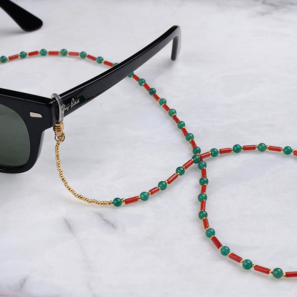 Carly Coral & Jade Eyeglass Chain