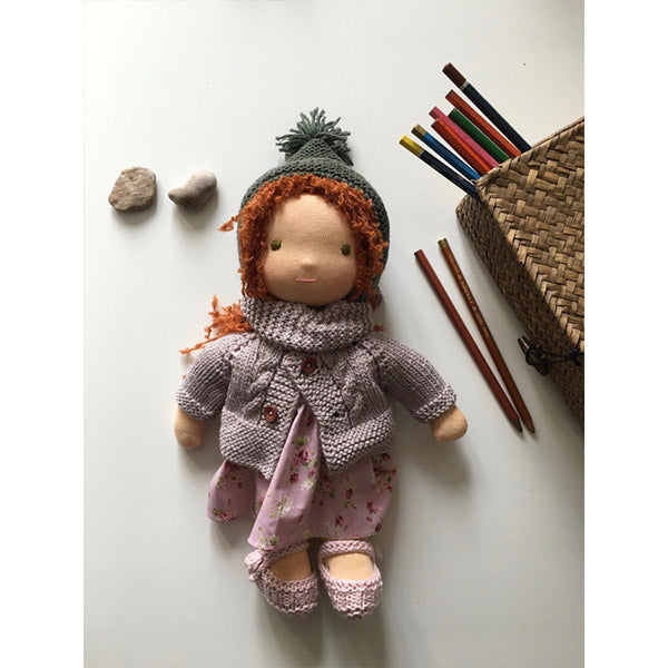 Soft organic waldorf doll with red hair, lilac wool cardigan and lilac flower printed cotton dress