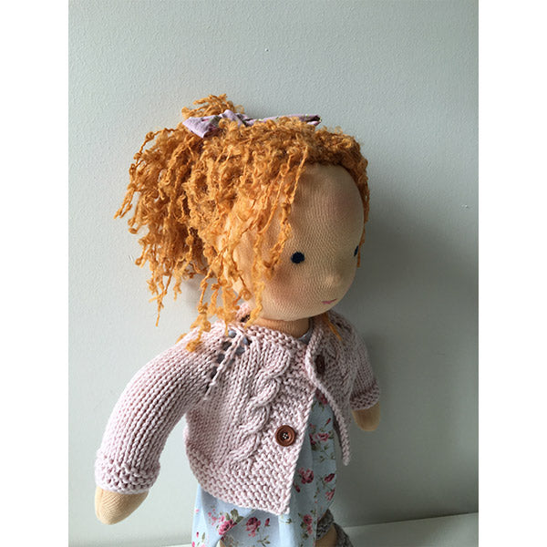 Soft organic waldorf doll with red hair, wool lilac cardigan and blue flower printed cotton dress