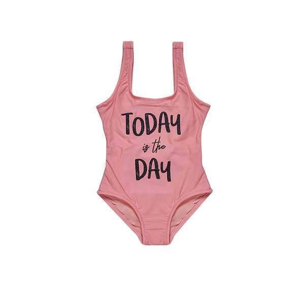 Pink swimsuit with 'Today is the day' slogan black glitter print detail