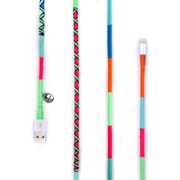 happy-nes branded handcrafted colourful 2 mt Apple iPhone 7 8,X charging cable at hippist