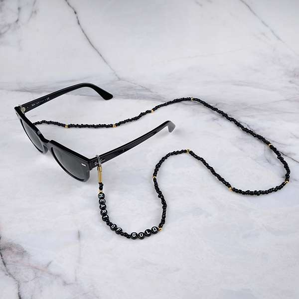 Personalized Beaded Eyeglass Chain | Heart of Gold