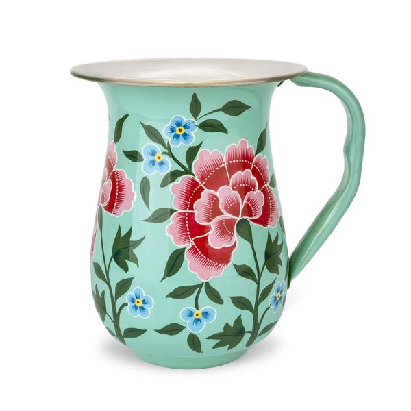 Decorative tableware hand painted green enamel jug with North Indıan motifs - hippist.co.uk