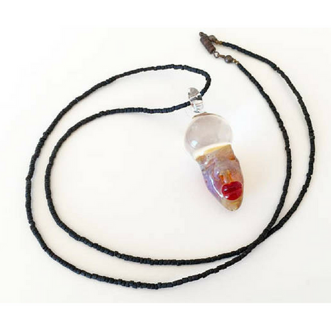 Clear Mind Striped Borosilicate Glass Pendant