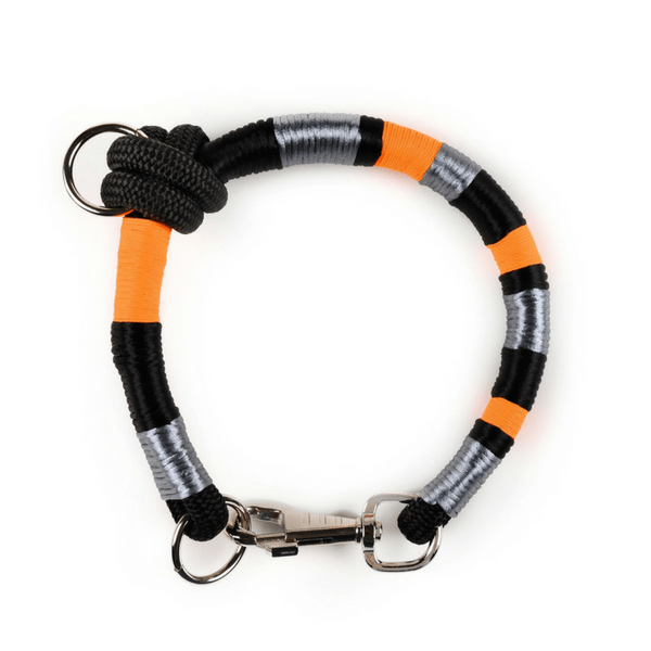 metallic grey orange black handmade Dog Collar | Odin - hippist.co.uk