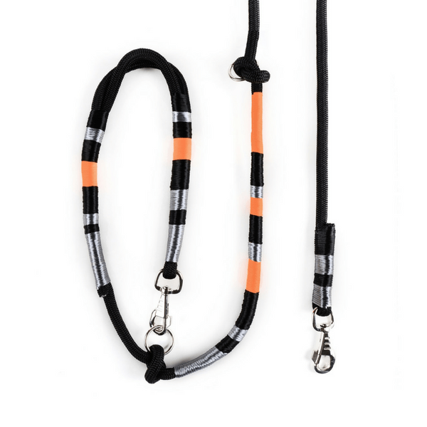 metallic grey orange black Dog Leash | Odin - hippist.co.uk