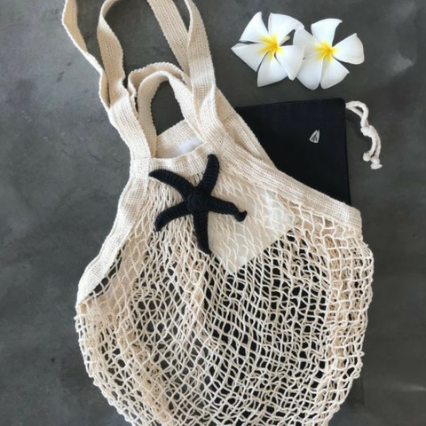 Cotton Mesh Bag | Black & Natural Cream Star