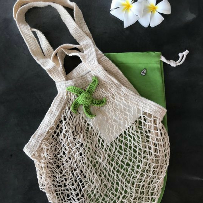 Cotton Mesh Bag | Natural Cream & Green Star - hippist.co.uk