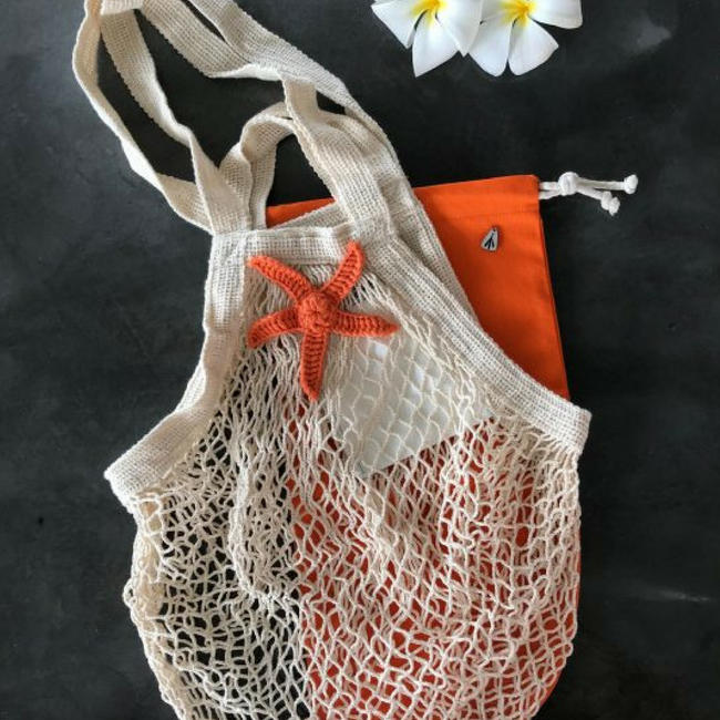 Cotton Mesh Bag | Natural Cream & Orange Star - hippist.co.uk