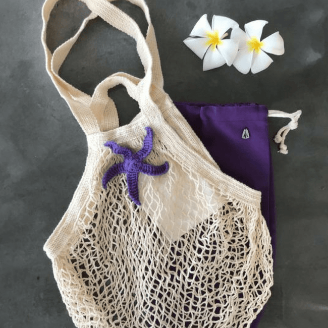 Cotton Mesh Bag | Natural Cream & Purple Star - hippist.co.uk