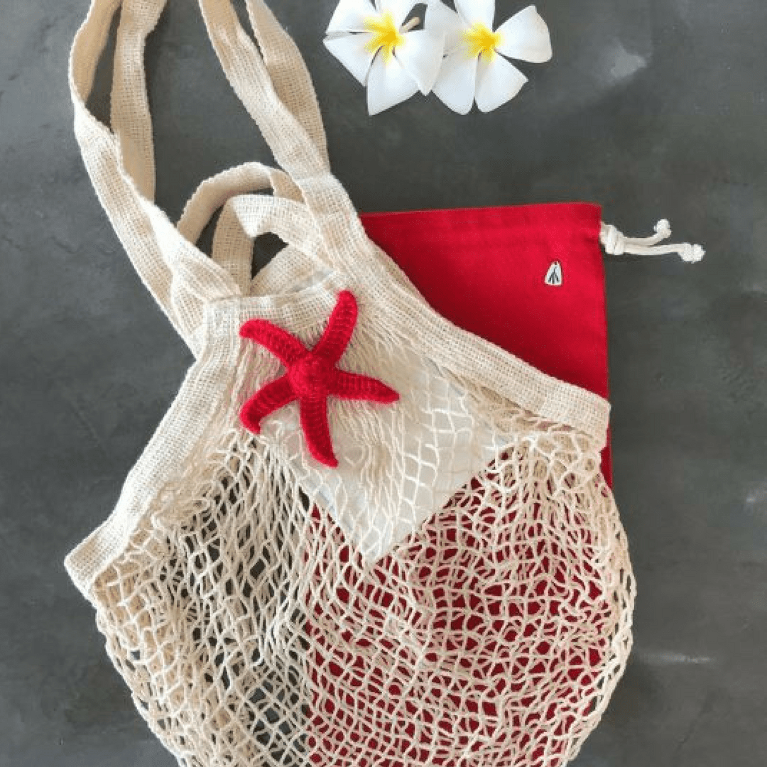 Cotton Mesh Bag | Natural Cream & Red Star - hippist.co.uk