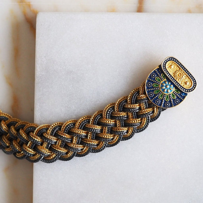 Enki Thick Braid Bracelet | Gold - hippist.co.uk
