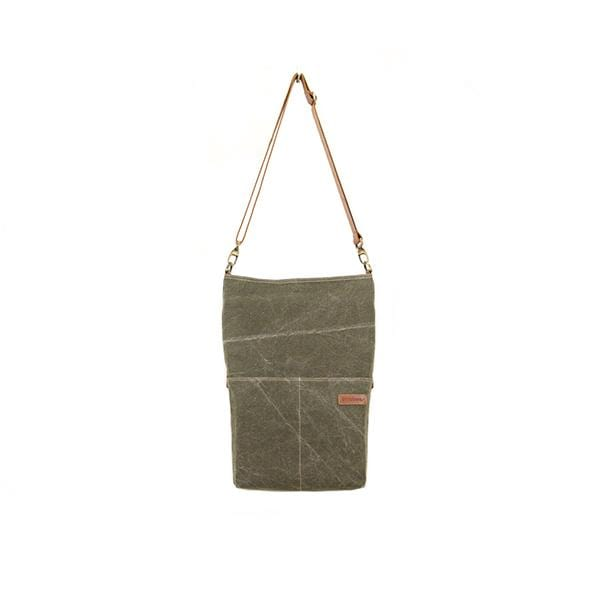 Giraffe Foldover Tote Bag | Khaki Washed Canvas - hippist.co.uk