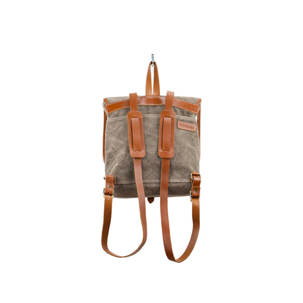 Coconut Mini Backpack | Brown Washed Canvas - hippist.co.uk