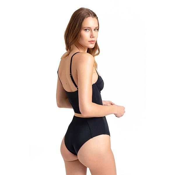 A model woman wears movom branded black colour nora bustier swimsuit