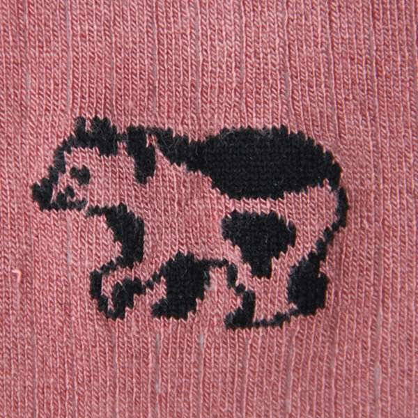 Fundaze branded pink bamboo socks with special hand-drawn cow and bear hybrid pattern at hippist.co.uk