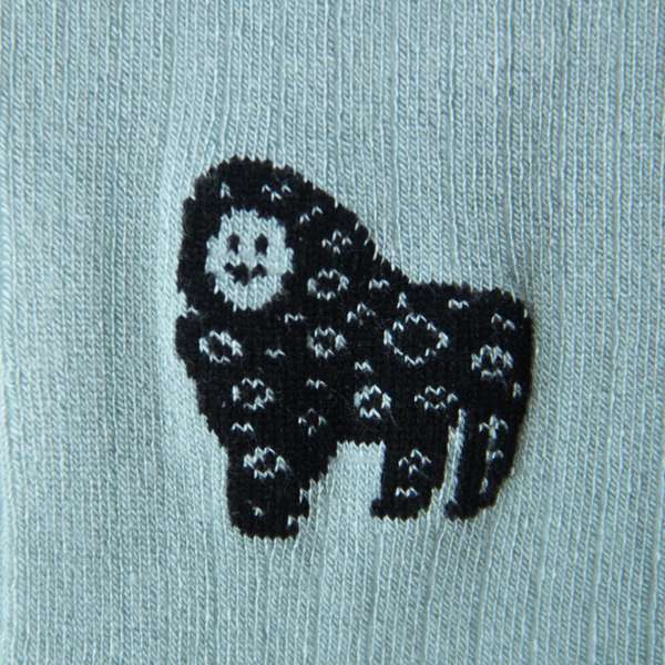 Fundaze branded eau de nil bamboo socks with special hand-drawn gorilla and leopard hybrid pattern at hippist.co.uk